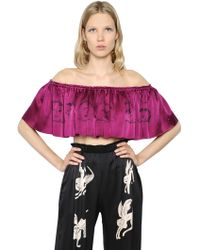 Claire Barrow - Cropped & Ruffled Printed Satin Top - Lyst