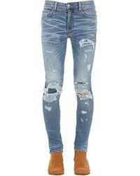 """Amiri - Jeans """"super Repair"""" In Denim Di Cotone 15cm - Lyst"""