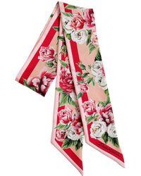 Dolce & Gabbana - Roses Printed Silk Scarf - Lyst