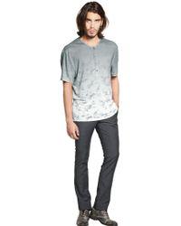 John Varvatos - Linen Jersey Henley T-shirt - Lyst