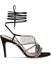 Attico - 100mm Baby Embellished Leather Sandals - Lyst