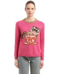 Gucci   Embellished Intarsia Crewneck Sweater   Lyst