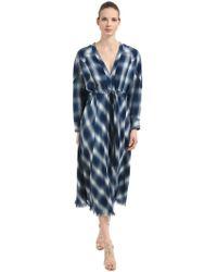 Jonathan Simkhai - Western Washed Cotton Plaid Midi Dress - Lyst