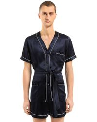 Loretta Caponi - Silk Satin Pyjama Shirt & Shorts - Lyst