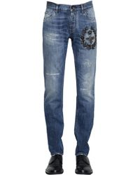 Dolce & Gabbana - 17cm Bee Embroidered Denim Jeans - Lyst
