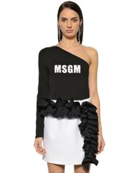 MSGM - One Sleeve Logo Cotton Jersey Bodysuit - Lyst