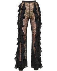 Balmain - Ruffled Georgette & Lace Pants - Lyst