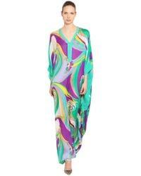 Emilio Pucci - Printed Silk Chiffon Long Caftan - Lyst