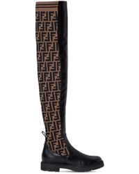 8f6d34cfb86 Fendi - 30mm Leather   Knit Over The Knee Boots - Lyst