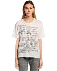 Saint Laurent - Writing Print Washed Jersey T-shirt - Lyst