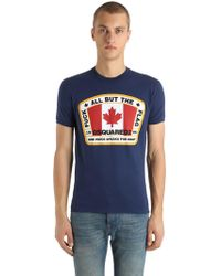 DSquared² - Printed Flag Cotton Jersey T-shirt - Lyst