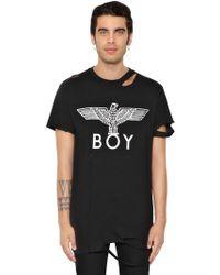 BOY London - Destroyed Logo Printed Jersey T-shirt - Lyst