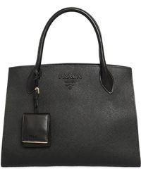 Prada - Large Monochrome Saffiano Leather Bag - Lyst