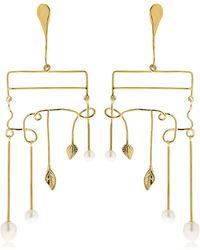 Aurelie Bidermann | Siroco Pearls & Leaves Earrings | Lyst