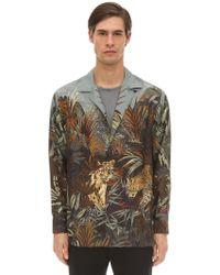 Etro - Printed Tiger Silk Bowling Shirt - Lyst