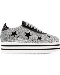 Chiara Ferragni - 50mm Glittered Platform Sneakers - Lyst