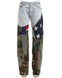 Ronald Van Der Kemp - Printed Flag & Army Flared Jeans - Lyst