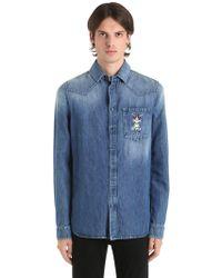Etro - Besticktes Hemd Aus Baumwolldenim - Lyst