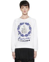 Lanvin - Embellished Heavy Cotton Sweatshirt - Lyst