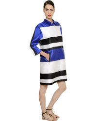 Francesco Scognamiglio | Oversize Striped Techno Blend Satin Coat | Lyst