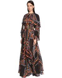 Etro - Printed Pleated Techno Georgette Dress - Lyst