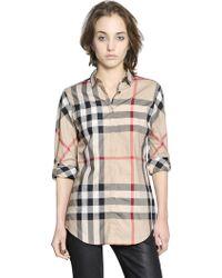 Burberry Brit - Checked Cotton Poplin Shirt - Lyst