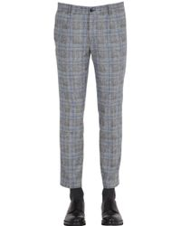 Grey Daniele Alessandrini - 17cm Prince Of Wales Stretch Wool Pants - Lyst