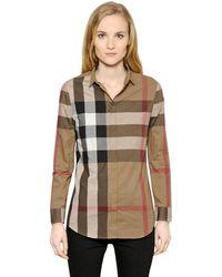 Burberry Brit - Macro Check Cotton Voile Shirt - Lyst