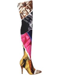 Moschino - 100mm Editorial Printed Neoprene Boots - Lyst