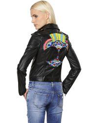 John Richmond - Embellished Patch Leather Jacket - Lyst