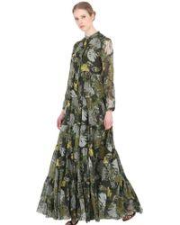 Larusmiani Leaves Printed Silk Dress