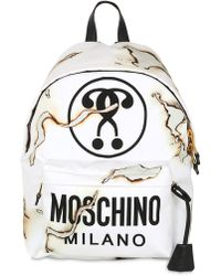 Moschino It's Lit Burn Printed Canvas Backpack - White
