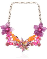 Ortys - Floral Wire Frame Necklace - Lyst