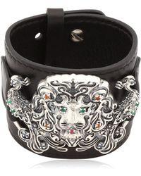 Gfase - Lion's Paradise Leather Cuff Bracelet - Lyst