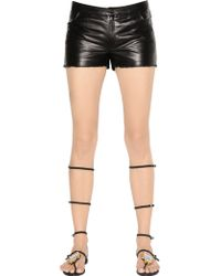 DROMe - Nappa Leather Shorts With Raw Cut Hem - Lyst
