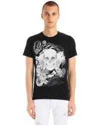 Just Cavalli - T-shirt Aus Baumwolljersey Mit Schädeldruck - Lyst