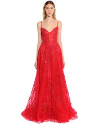 Zuhair Murad - Beaded Tulle Floral Gown - Lyst