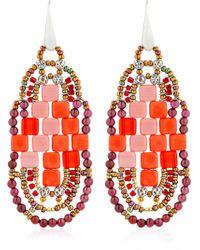 Ziio - Pixel Red Beaded Earrings - Lyst