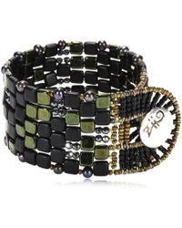 Ziio - Pixel Black Beaded Bracelet - Lyst