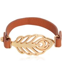 See By Chloé - Feather Metal Leather Bracelet - Lyst