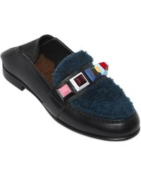 Fendi - 10mm Studs, Shearling & Leather Loafers - Lyst