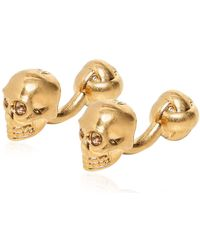 Alexander McQueen - Swarovski Skull Shiny Brass Cufflinks - Lyst