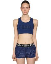 Fendi - Logo Printed Stretch Jersey Bra Top - Lyst