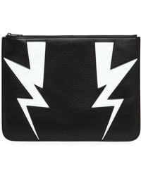 Neil Barrett - Bolts Intarsia Leather Large Pouch - Lyst