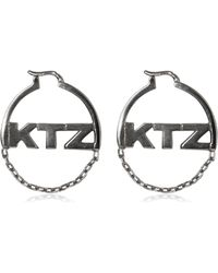 KTZ | Logo & Chain Hoop Earrings | Lyst