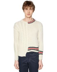 Thom Browne - Half And Half Cable Knit Wool Jumper - Lyst