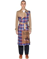 Loewe - Tan And Check Trench Coat - Lyst