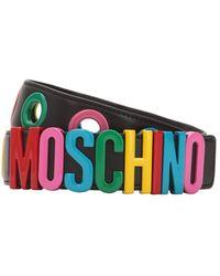 Moschino - Multicolour Logo Leather Belt - Lyst