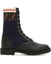 Fendi - 20mm Leather & Knit Combat Boots - Lyst