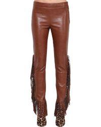 Giamba - Faux Leather Trousers W/ Fringe - Lyst